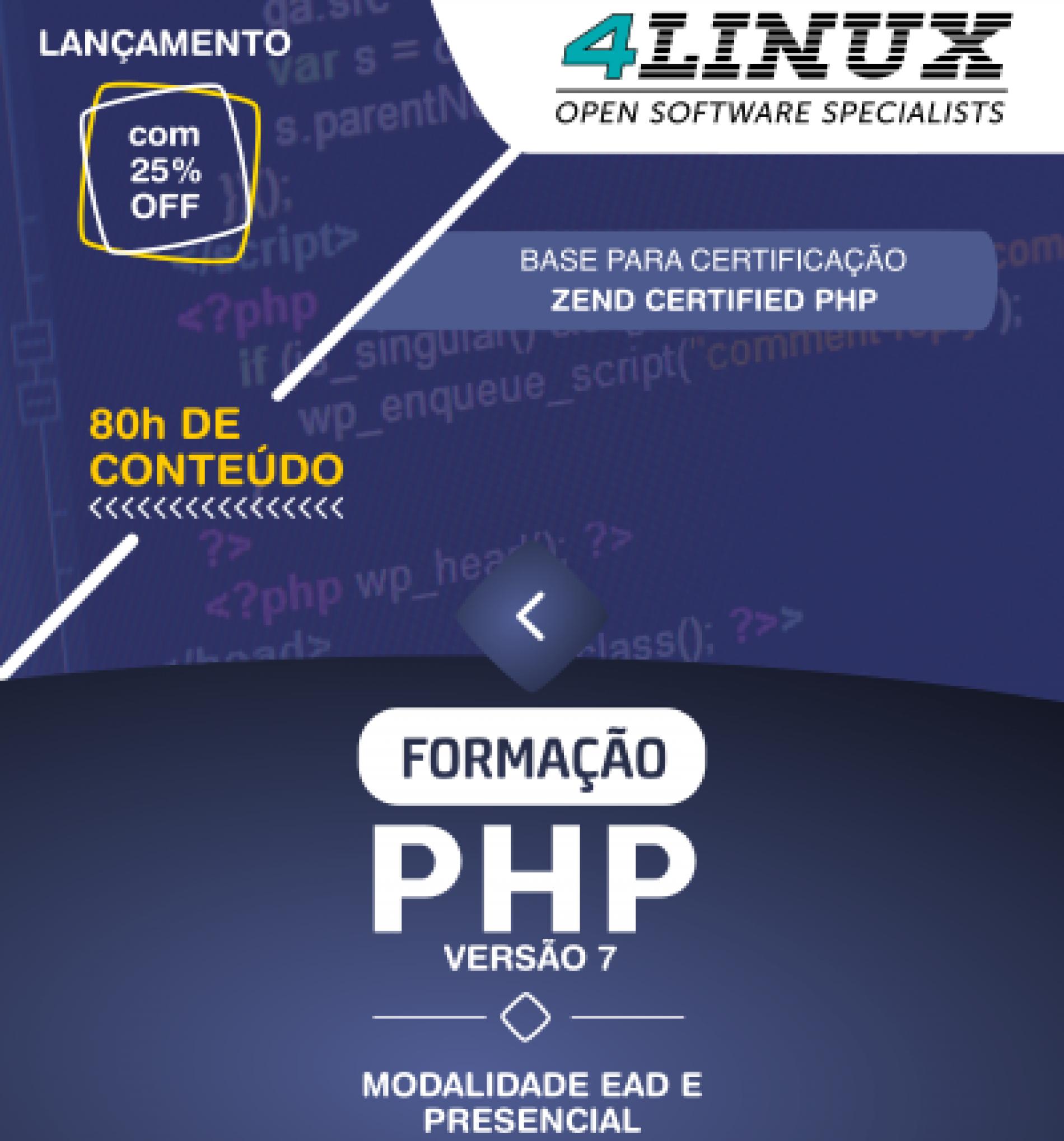 """4Linux lança sua nova """"Formação PHP"""" totalmente modernizada!"""